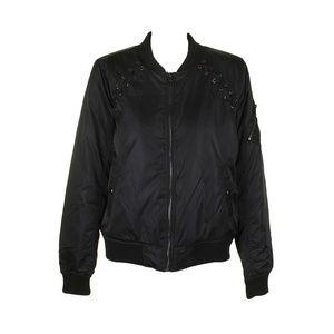 Madden Girl Black Lace-Up Full Zip Bomber Jacket